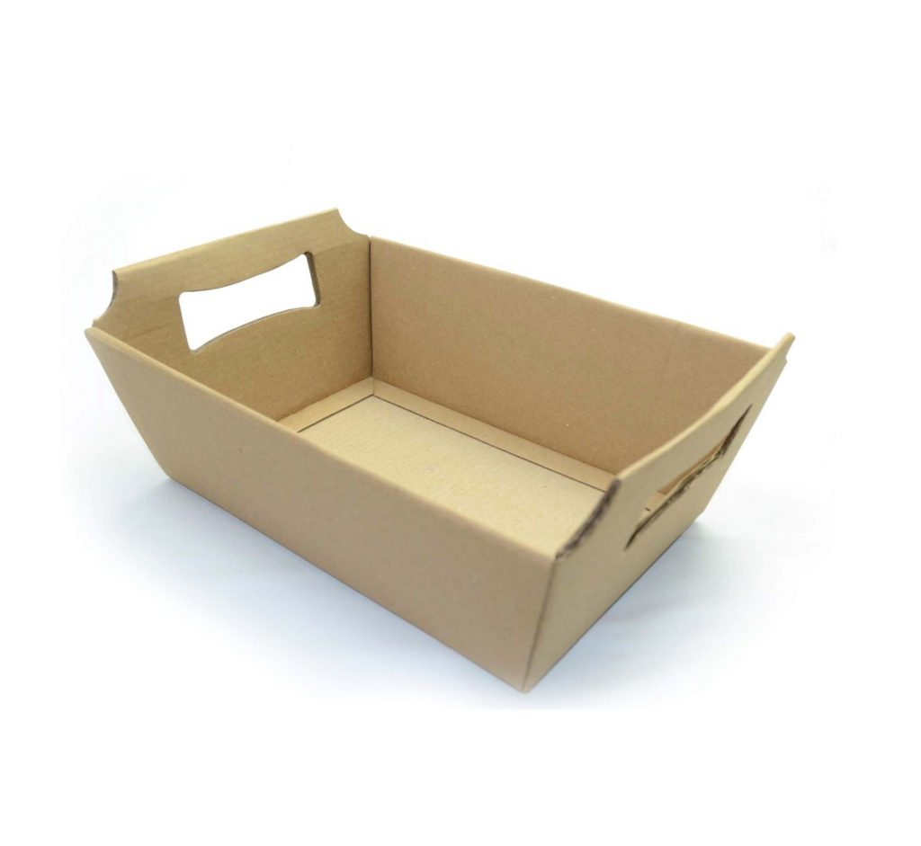 Cesta de papel kraft para produtos artesanais para presentear a namorada