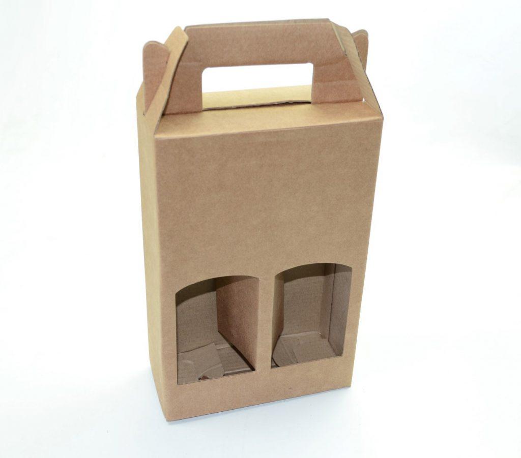 Embalagem em papel kraft em formato de maleta com suporte para duas garrafas de vinho - dicas de embalagens para vinho