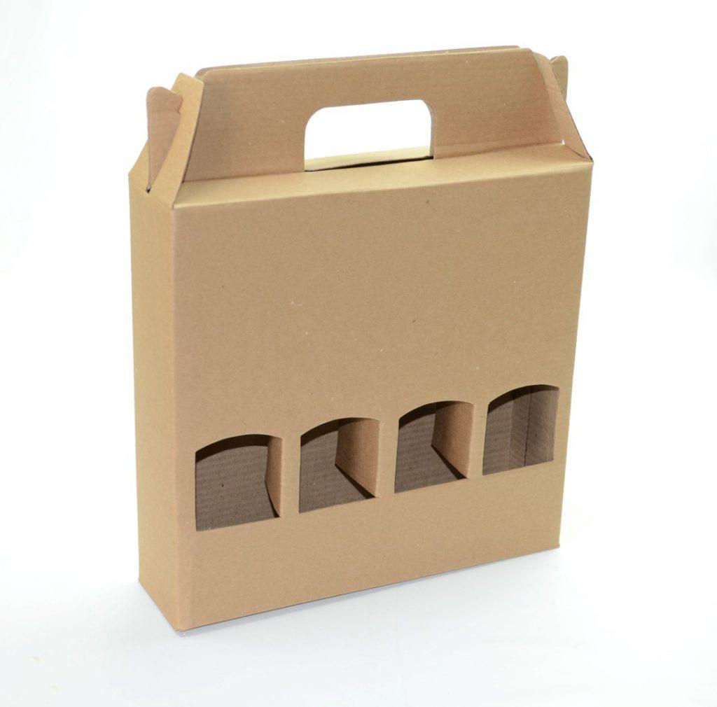 Embalagem em papel kraft no formato de maleta com suporte para quatro garrafas de bebidas - dicas de embalagens para vinho